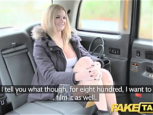 fake cab fat inborn boobies on platinum-blonde model
